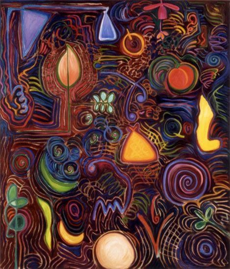 "Q's Bed, 54"" x 46"" oil on canvas, 1988"