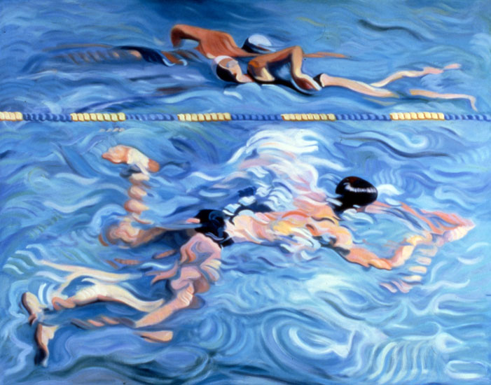 "Young Swimmer with Two Passing, 36"" x 48"" oil on canvas, 1980, private collection"