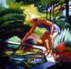 "Reach, 14"" x 14"" oil on canvas, 1995, private collection"